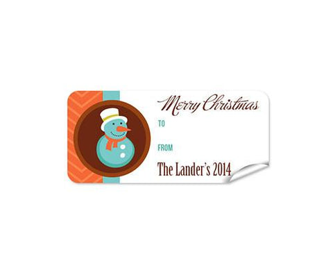 Snow Man 27pk Labels Christmas