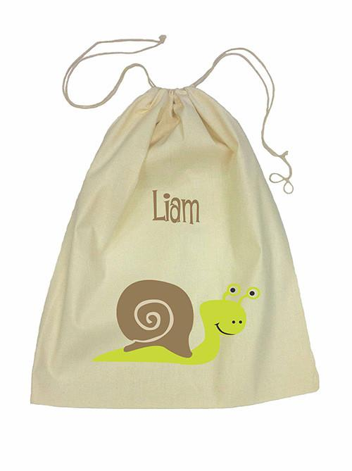 Drawstring Bag - Green Snail