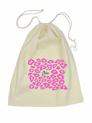 Drawstring Bag - Pink Leopard