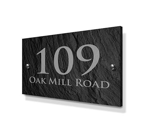 Slate Effect Metal House Sign