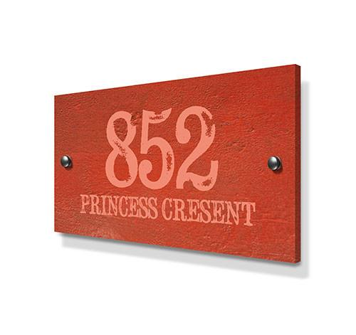 Orange Cement Effect Metal House Sign