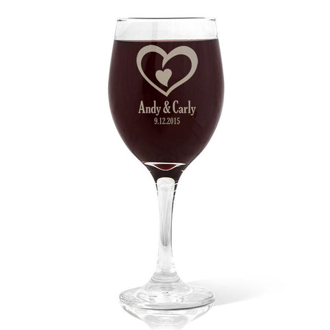Double Heart Design Wine 410ml Glass