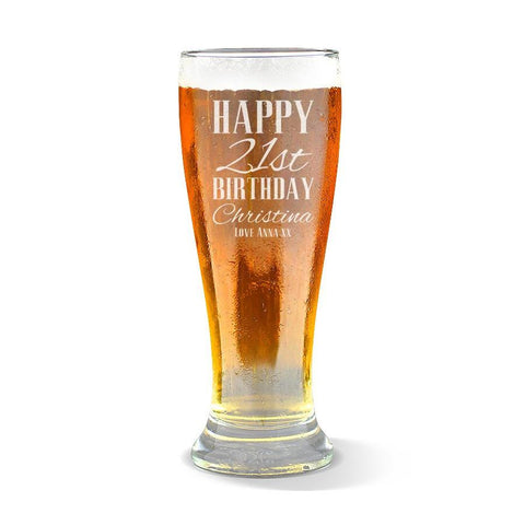 Classic Happy Birthday Premium 425ml Beer Glass