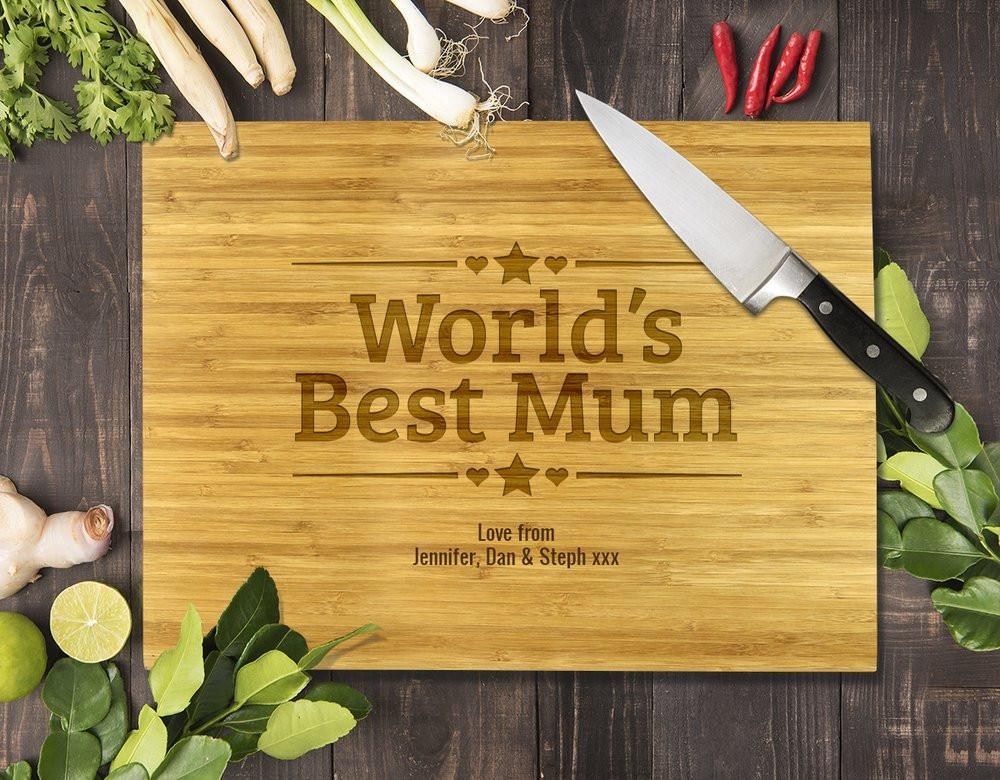 World's Best Mum Bamboo Cutting Board 12x16""