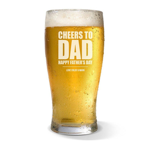 Cheers to Dad Standard 285ml Beer Glass
