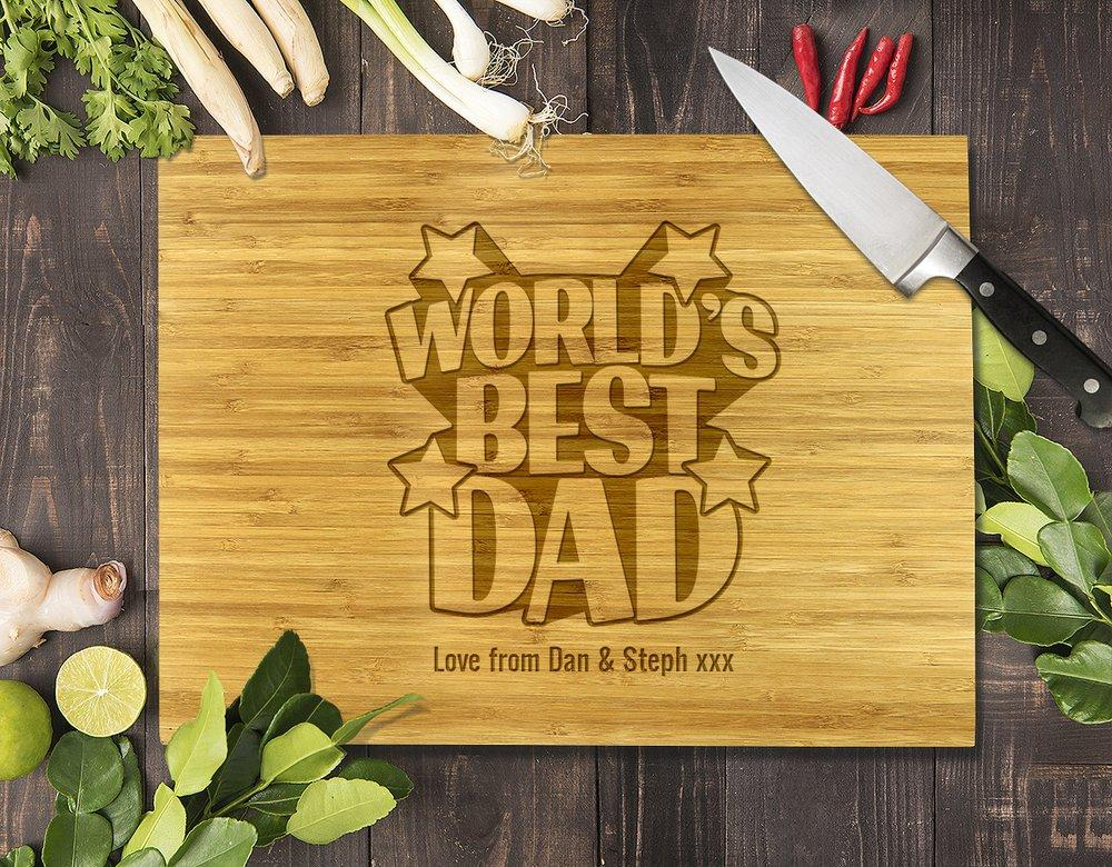 World's Best Dad Bamboo Cutting Board 8x11