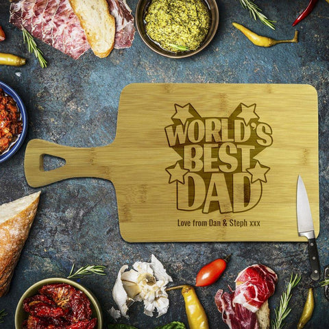 World's Best Dad Rectangle Bamboo Serving Board