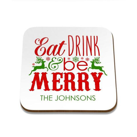 Eat Drink Square Coaster - Set of 4