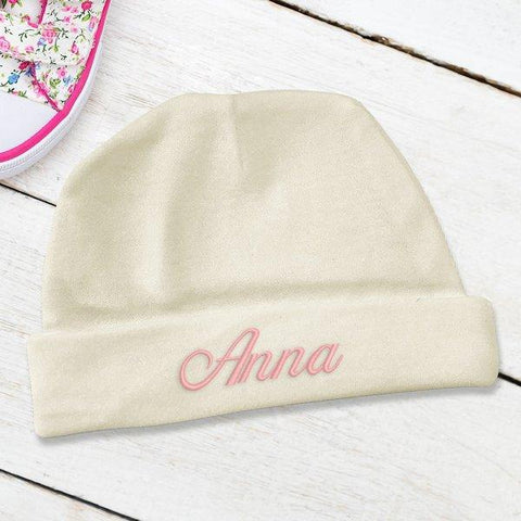Cream Embroidered Baby Beanie