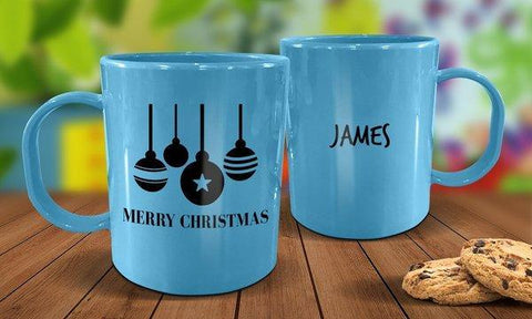Bauble Plastic Christmas Mug - Blue