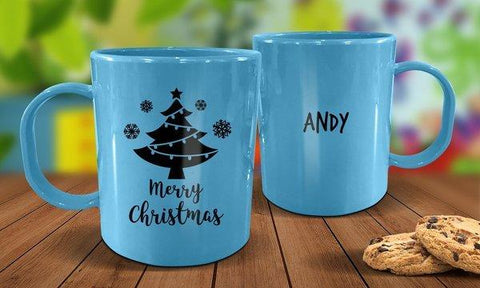 Christmas Tree Plastic Christmas Mug - Blue