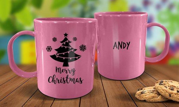 Christmas Tree Plastic Christmas Mug - Pink