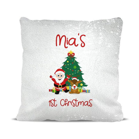 1st Christmas Sequin Cushion Cover