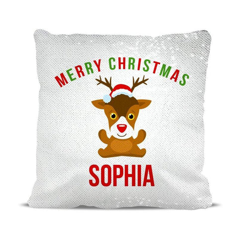Cute Reindeer Sequin Cushion Cover