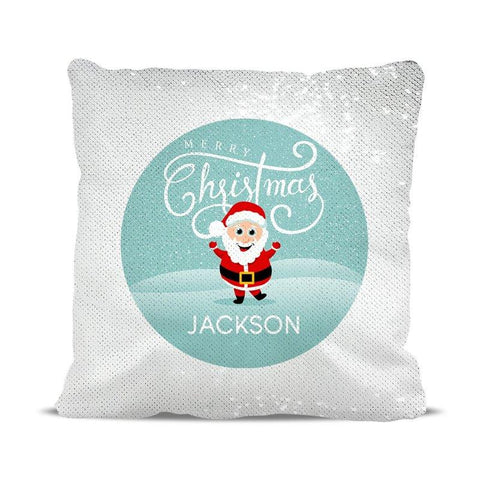 Jolly Santa Sequin Cushion Cover