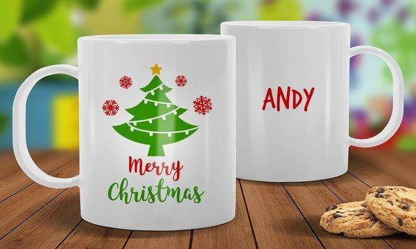 Christmas Tree White Plastic Christmas Mug