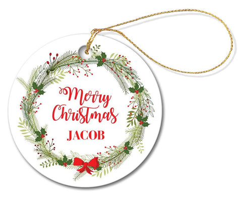 Christmas Wreath Round Porcelain Ornament