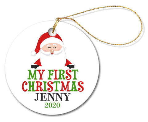 My First Christmas Round Porcelain Ornament