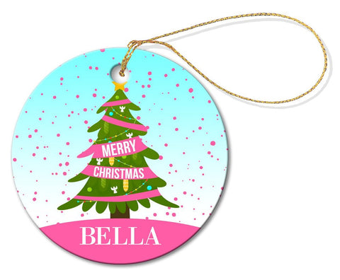 Pink Christmas Round Porcelain Ornament