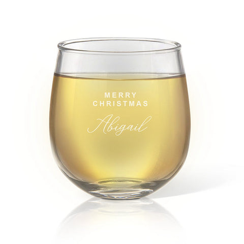 Merry Christmas Stemless Wine Glass