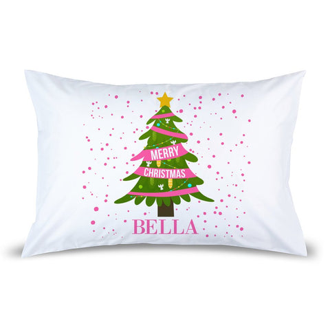 Pink Christmas Pillow Case