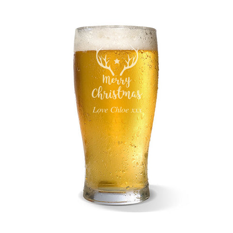 Christmas Start Standard 425ml Beer Glass