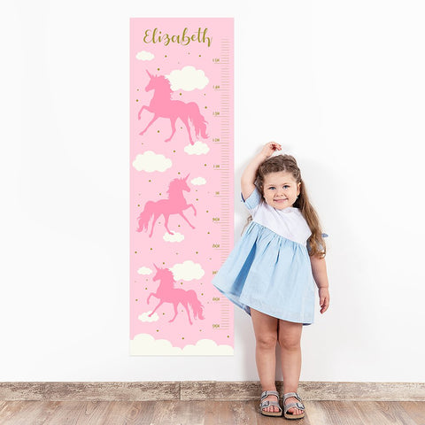 Pink Unicorn Wall Decal Height Chart