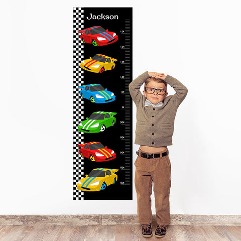 Racing Cars Wall Decal Height Chart