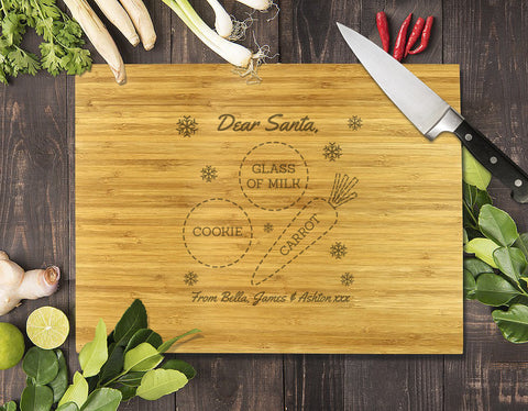 Dear Santa Christmas Bamboo Cutting Board 8x11""