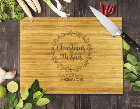 Christmas Wishes Bamboo Cutting Board 12x16""