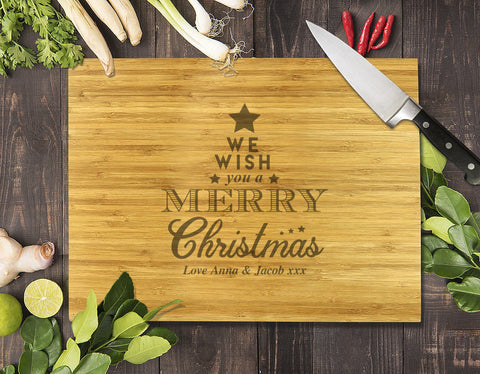 Star Christmas Bamboo Cutting Board 12x16""