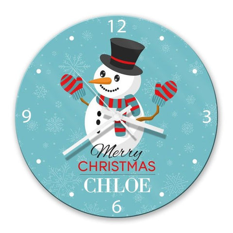Snowman Glass Clock