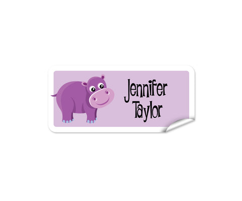 Purple Hippo Rectangle Labels 42pk