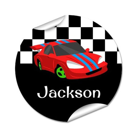 Race Cars Round Labels 45pk