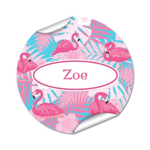 Flamingo Round Labels 45pk