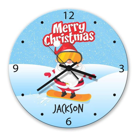 Snowboard Santa Glass Clock