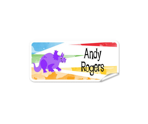 Purple Dino Rectangle Labels 42pk