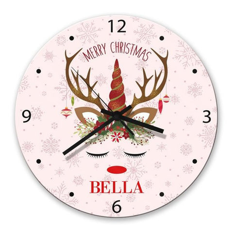 Christmas Unicorn Glass Clock (Temporary Out of Stock)