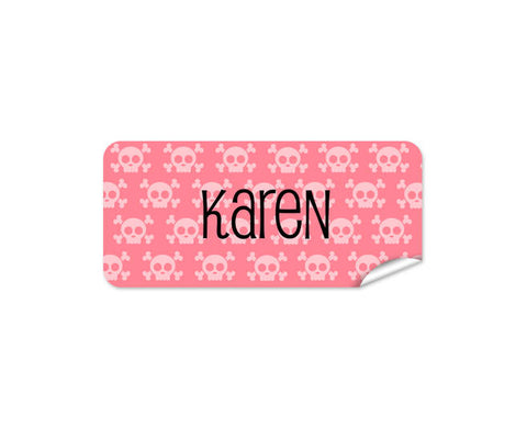 Pink Skulls Rectangle Labels 42pk