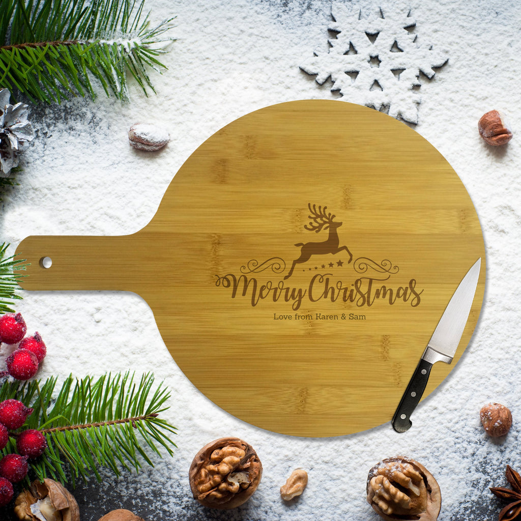 Reindeer Christmas Round Bamboo Serving  Board