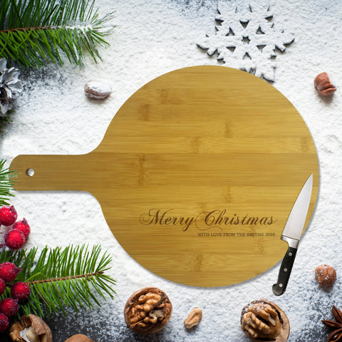 Merry Christmas Round Bamboo Serving Board