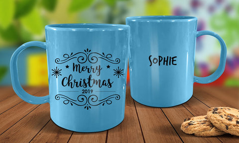 Merry Christmas Plastic Christmas Mug - Blue