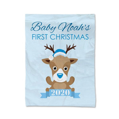 Blue First Christmas Blanket - Medium