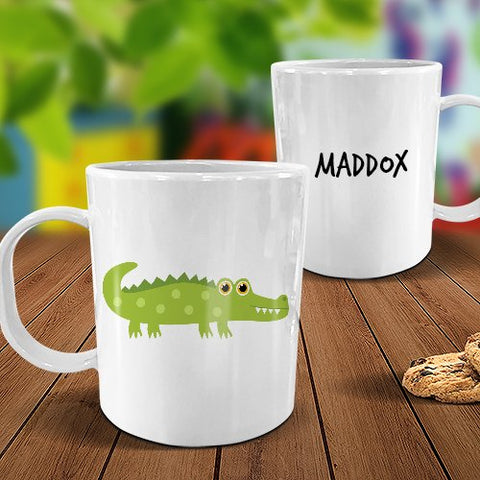 Crocodile White Plastic Mug