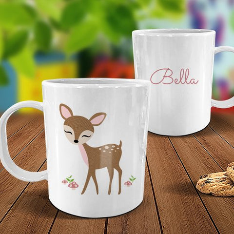 Cute Deer White Plastic Mug
