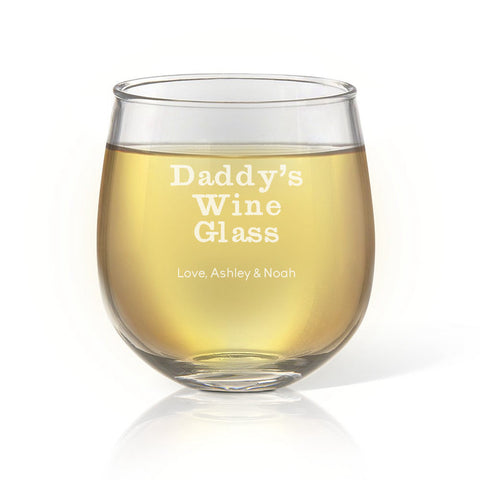 Daddy's Stemless Wine Glass