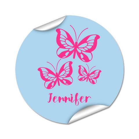 Butterflies Round Labels 45pk