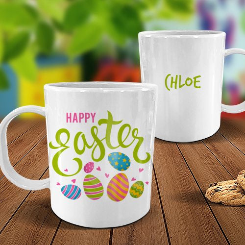 Easter Eggs White Plastic Mug