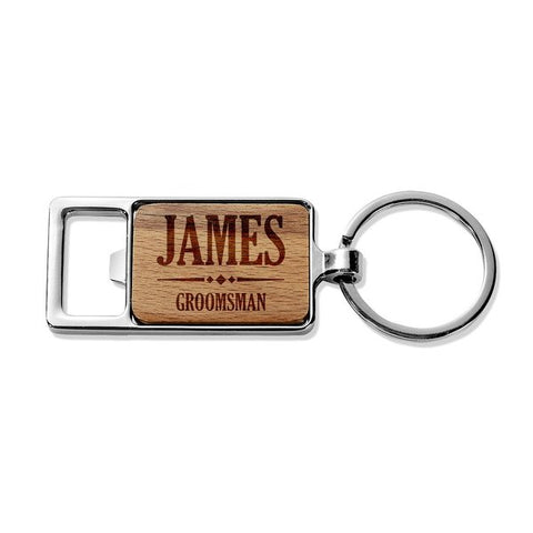 Groomsman Rectangle Metal Keyring