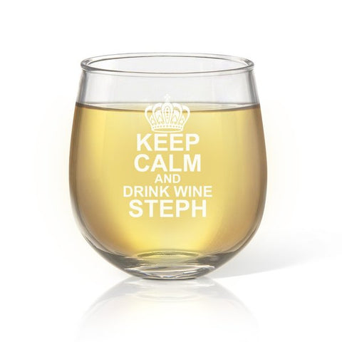 Keep Calm Stemless Wine Glass